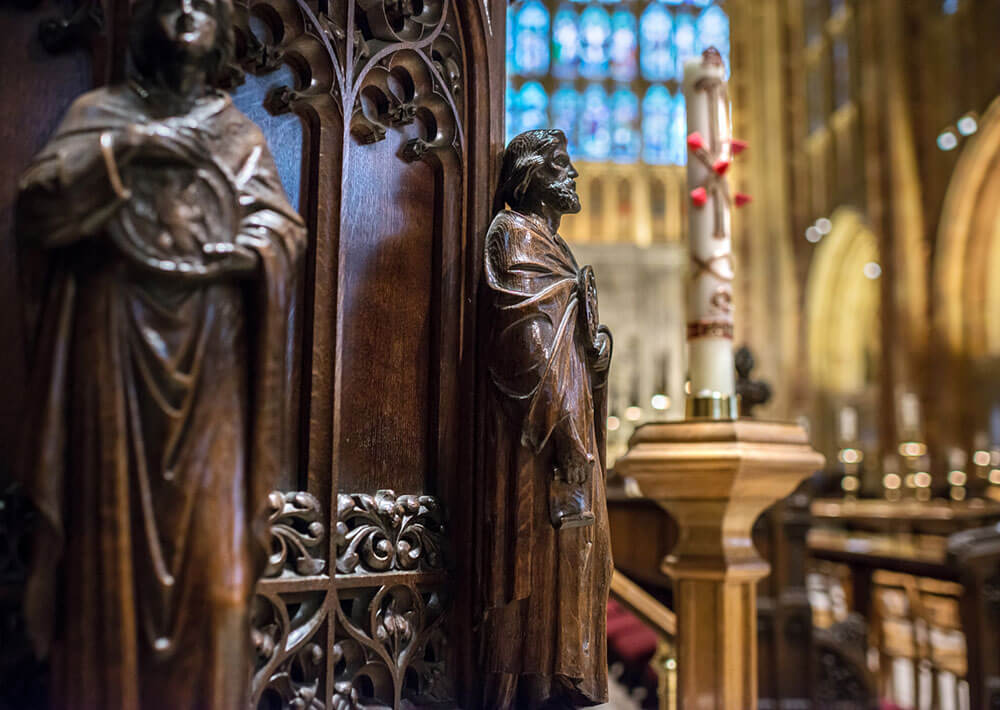 Sherborne Abbey wood carving